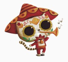 The Day of the Dead Cute Cat El Mariachi Kids Tee