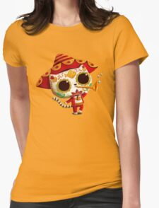The Day of the Dead Cute Cat El Mariachi Womens Fitted T-Shirt