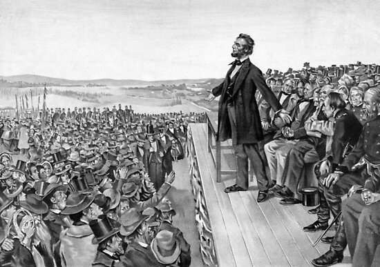 President Lincoln Delivering The Gettysburg Address by warishellstore
