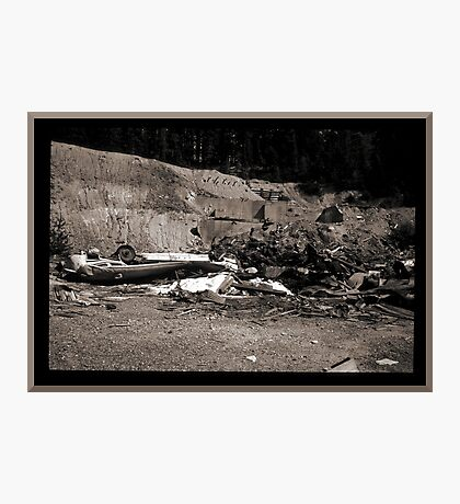 Mine Debris With Smashed Bus Photographic Print