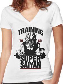 Training to go Super Saiyan   Dragon Ball Women's Fitted V-Neck T-Shirt