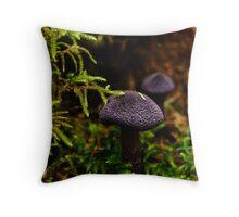 Purple Mushroom Macro Throw Pillow