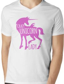 Crazy Unicorn lady in purple Mens V-Neck T-Shirt