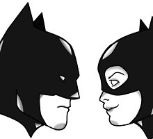 Batman and Catwoman in profile by mitchman5