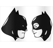 Batman and Catwoman in profile Poster