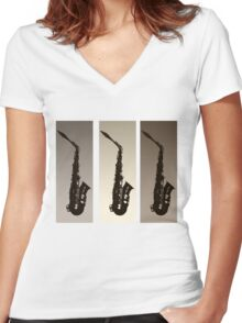 Three Saxophones Women's Fitted V-Neck T-Shirt
