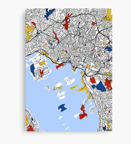 Oslo Mondrian map Canvas Print