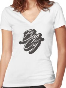BIG BOYS DON'T CRY Women's Fitted V-Neck T-Shirt