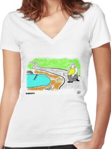 Fish Revenge. Women's Fitted V-Neck T-Shirt