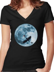 Full Moon Flight Women's Fitted V-Neck T-Shirt
