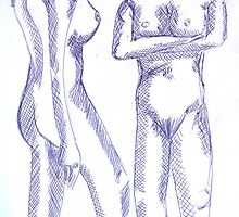 Biro Studies of Nude Woman by Kyleacharisse
