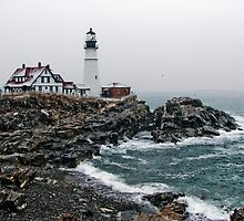 Snow Storm at Portland Head Light by Jason Gendron