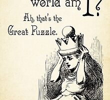 Alice in Wonderland Quote - Who in the world am I? Ah that's the great puzzle - 0115  by ContrastStudios
