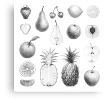 fresh fruits in black and white Canvas Print