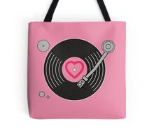 Groovy Pink Record Player Tote Bag