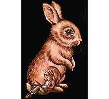 Cartoon Child with Bunny Rabbit Drawing Photographic Print