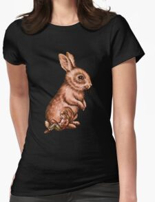 Cartoon Child with Bunny Rabbit Drawing Womens Fitted T-Shirt