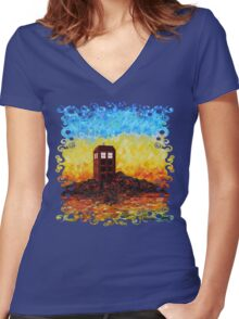 Time travel Phone booth in the Twilight zone art painting Women's Fitted V-Neck T-Shirt