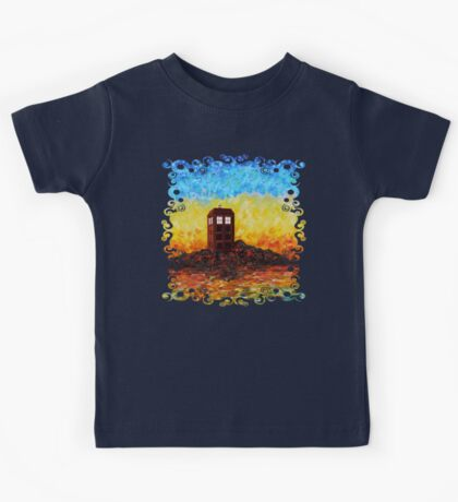 Time travel Phone booth in the Twilight zone art painting Kids Tee
