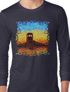 Time travel Phone booth in the Twilight zone art painting Long Sleeve T-Shirt