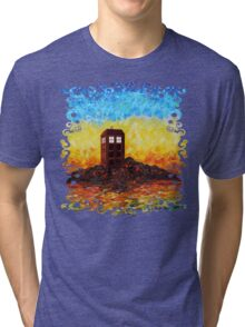 Time travel Phone booth in the Twilight zone art painting Tri-blend T-Shirt