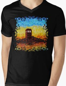 Time travel Phone booth in the Twilight zone art painting Mens V-Neck T-Shirt