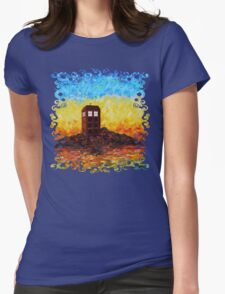 Time travel Phone booth in the Twilight zone art painting Womens Fitted T-Shirt