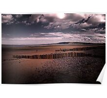 Clouds and Groynes Poster