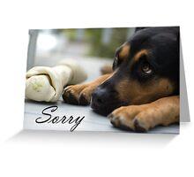 I'm sorry - dog with bone and sad eyes Greeting Card