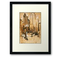 Vintage Cityscape and Ocean Liner Watercolour painting Framed Print