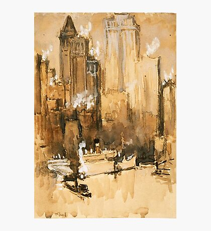 Vintage Cityscape and Ocean Liner Watercolour painting Photographic Print