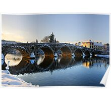Evening sun shines through the arches of Graiguenamanagh bridge, County Kilkenny, Ireland Poster