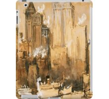 Vintage Cityscape and Ocean Liner Watercolour painting iPad Case/Skin