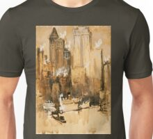 Vintage Cityscape and Ocean Liner Watercolour painting Unisex T-Shirt