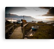Houseboats in West Mersea, Essex Canvas Print