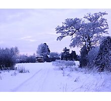 Snowy Village View Photographic Print
