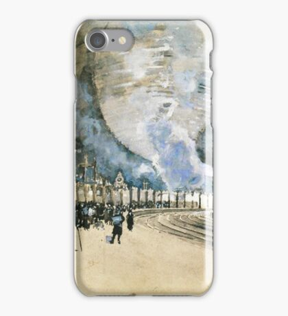 Vintage Watercolour Steam Trains and crowded rail tunnel iPhone Case/Skin