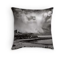 Winged snow demons embrace this place Throw Pillow