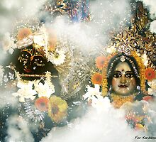 Krishna and Radha up high. by EvoBaBee