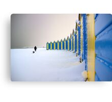 Beach Huts In The Snow Canvas Print