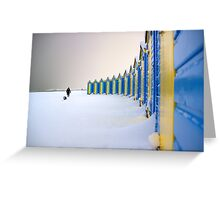 Beach Huts In The Snow Greeting Card