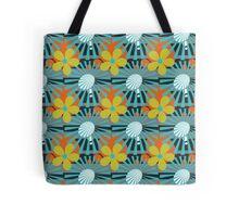 Retro Sunburst Flower Pattern Tote Bag