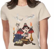 The Witch, The Cat and The Ghosts  Womens Fitted T-Shirt