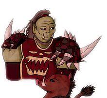 Orc hunter with boar pet by linzykittyart