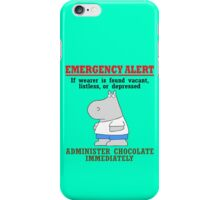 Emergency alert chocolate by boynton geek funny nerd iPhone Case/Skin
