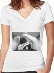 Stairway to B&W Heaven Women's Fitted V-Neck T-Shirt