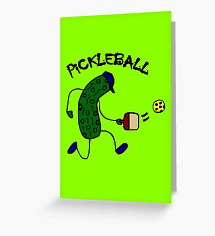 Funny pickle playing pickleball geek funny nerd Greeting Card