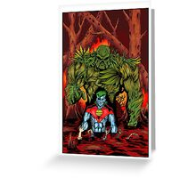 Swamp Thing vs. Captain Planet - by Christian Martinez Greeting Card
