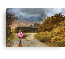 Little Girl Along The Lane Canvas Print