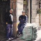 Workers on La Rambla by Randy Sprout